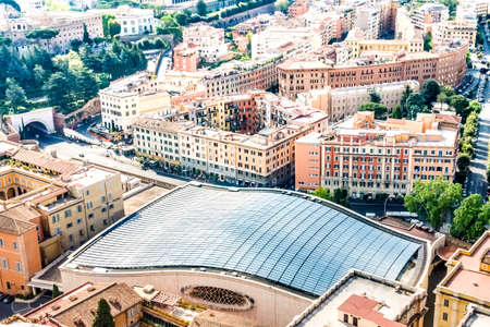 Top view of Nervi Hall roof in Rome, Italy, fully covered with solar panels