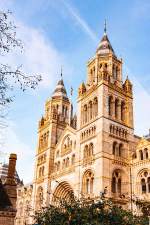 Side view of British Natural History Museum in London.