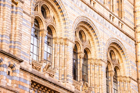 Close up of Natural History Museum facade in London.