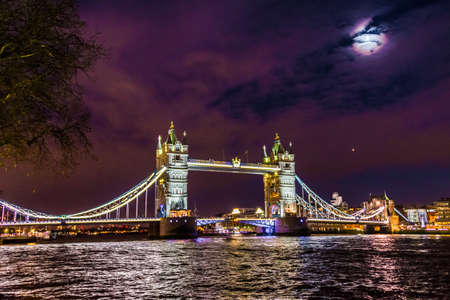 Night view of Tower Bridge in London, UK.
