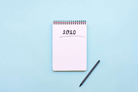 Top view of empty notebook ready for New 2020 Year planing or wish list
