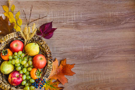 Top view of various colorful autumn fruits and leaves in a wicker basket over wooden table. Copy space.