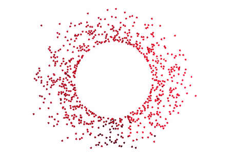 Valentine's Day background - a circular frame of scattered heart shaped confetti over white background.