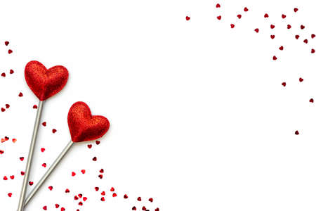Two love magic wands. Valentine's Day concept. Copy space.