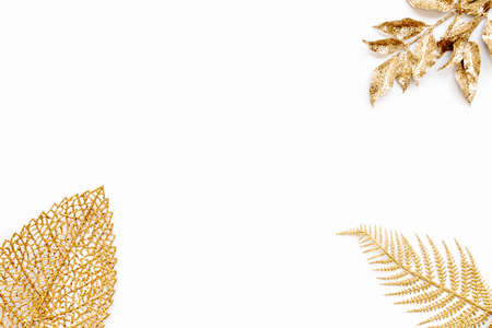 Various golden leaves over white background. Copy space. Zdjęcie Seryjne - 145416568