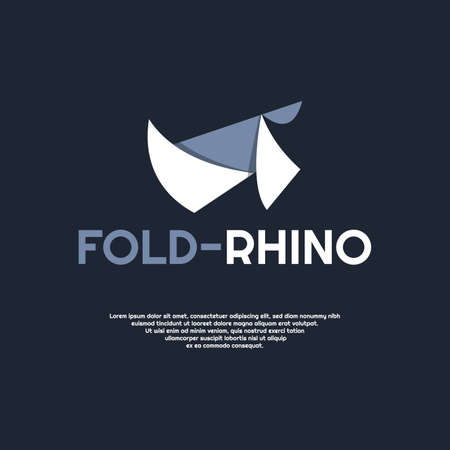 Simple rhino logo design template illustration on flat style