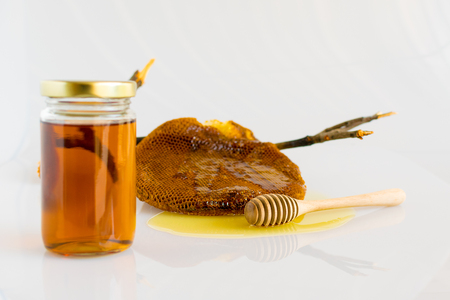 drizzler: Honey and Honeycomb on white background