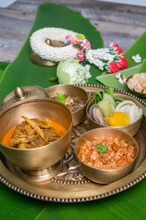 Northern Thai food with banana leaf background