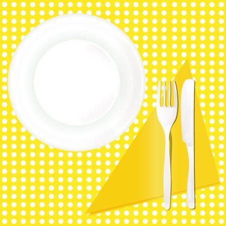 A dinner plate fork knife flat pattern table