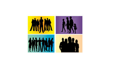 PEOPLE silhouette SET Vector
