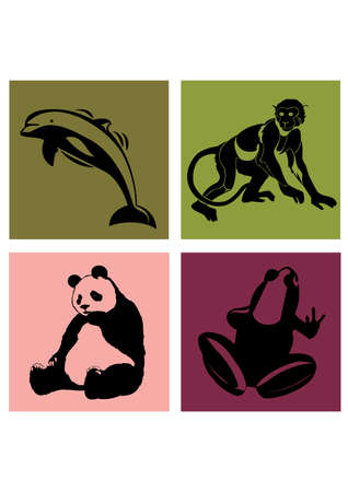 4 ANIMALS silhouette   love bear monkey dolphins frog   Vector
