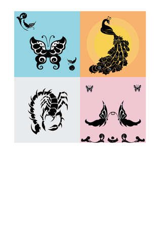 peacock butterfly:  Nice peacock ,  butterfly , scorpion silhouette  Illustration