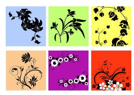 NICE FLOWERS silhouette Vector
