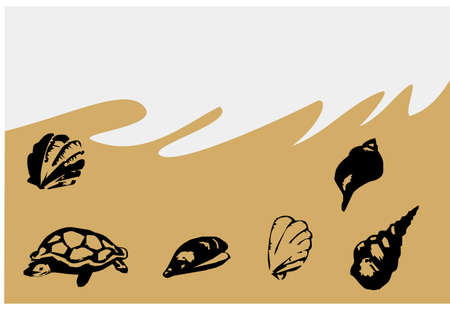simplistic icon: beautiful silhouette sea animals Illustration