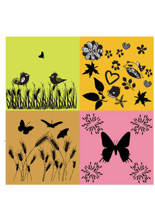 animal and floral silhouettes for summer Vector