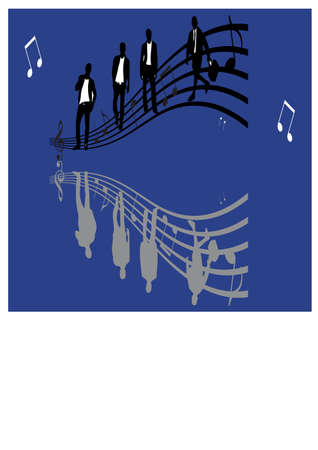 silhouette of man and music Vector