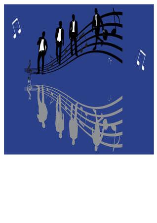 gansta: silhouette of man and music Illustration