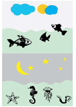 silhouette sea animals Vector