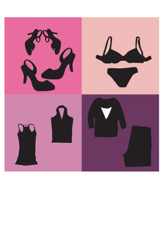 silhouette of women s clothing Vector
