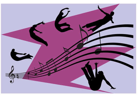 siluet: silhouette of jumping man and music