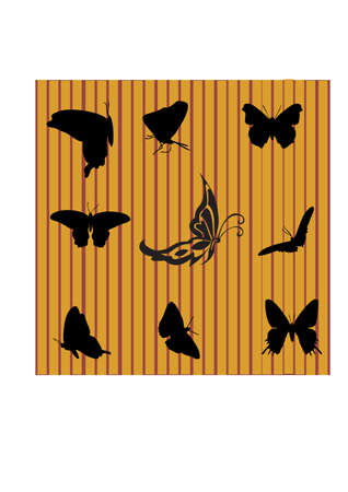 gansta: silhouette of a beautiful butterfly Illustration