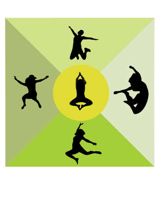 silhouette  of a woman jumping Illustration