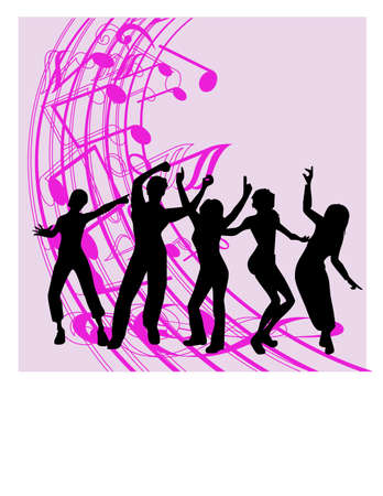 silhouette dancing together Vector