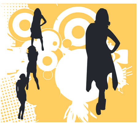 siluet: silhouette of businesswoman Illustration