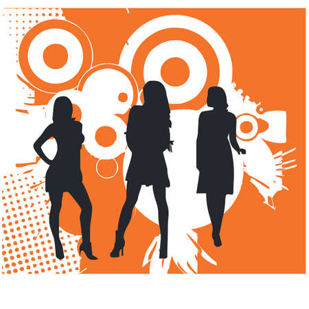 silhouette of a woman and business Illustration