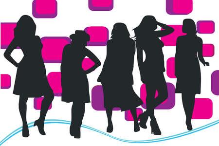 gansta: silhouette of women workers