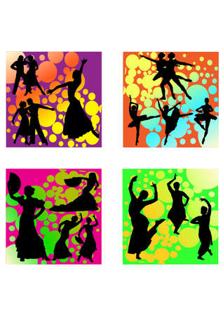 silhouette romantic dance Vector