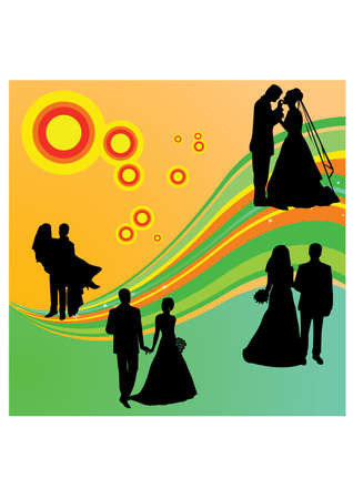 silhouette love marriage Vector