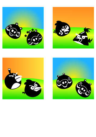silhouette angry bird Illustration