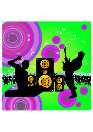 silhouette playing music Vector