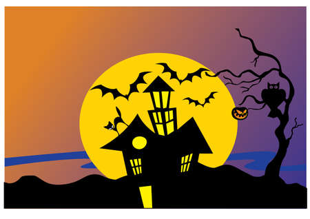 silhouette scream house Vector