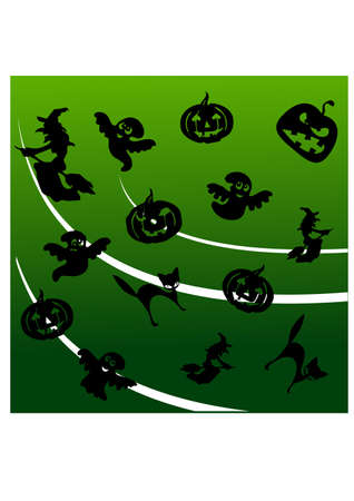 many scary silhouette Vector