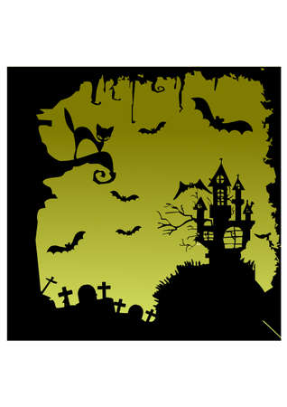 siluettes: ghost house scary silhouette Illustration