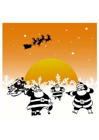 happy santa claus silhouette Vector