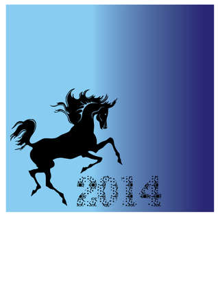 silhouette of a horse and a new year Vector