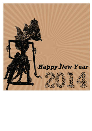 new year and puppets silhouette Vector