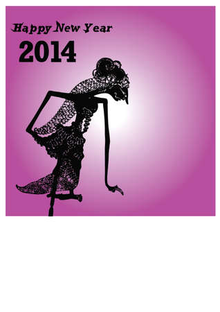silhouette happy new year and puppets Vector