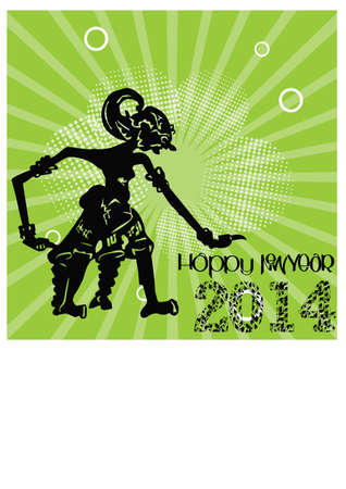 silhouette of a happy new year  3 Stock Vector - 23460157