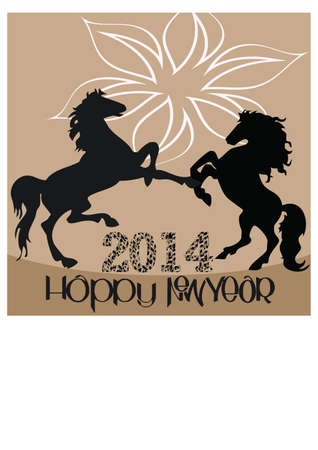 silhouette of a happy new year  2 Stock Vector - 23460156