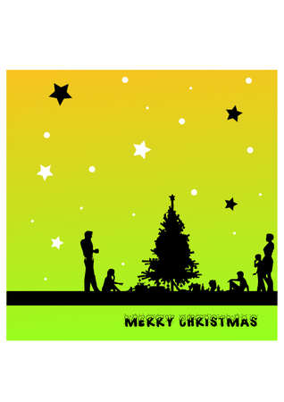 people s celebrating christmas silhouette Stock Vector - 23460155