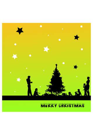 gansta: people s celebrating christmas silhouette