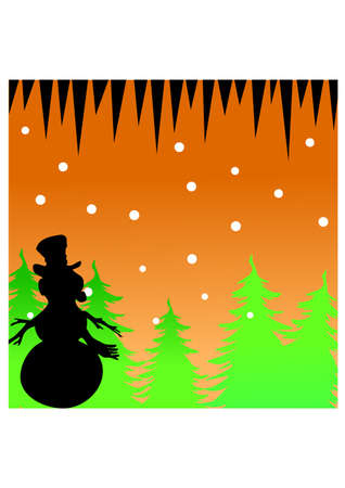 silhouette snowman and snowflakes Vector