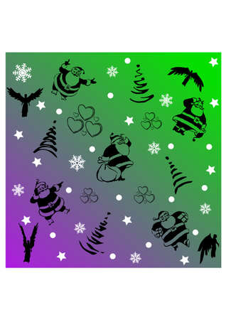 some related to christmas silhouette Stock Vector - 23460161