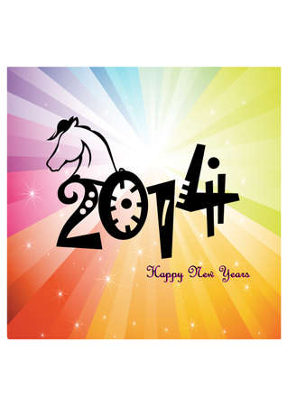 silhouette of happy new year with horse head Vector
