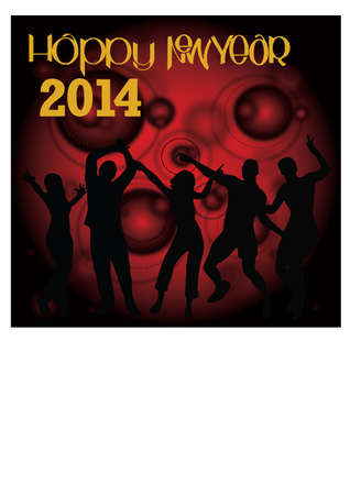 silhouette of the new year celebrations Stock Vector - 23553182