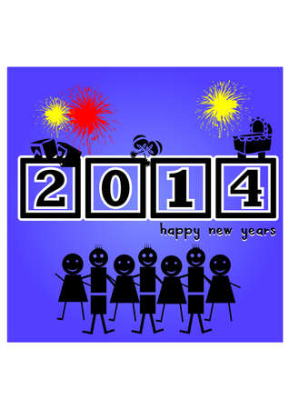 silhouette happy new year  Vector